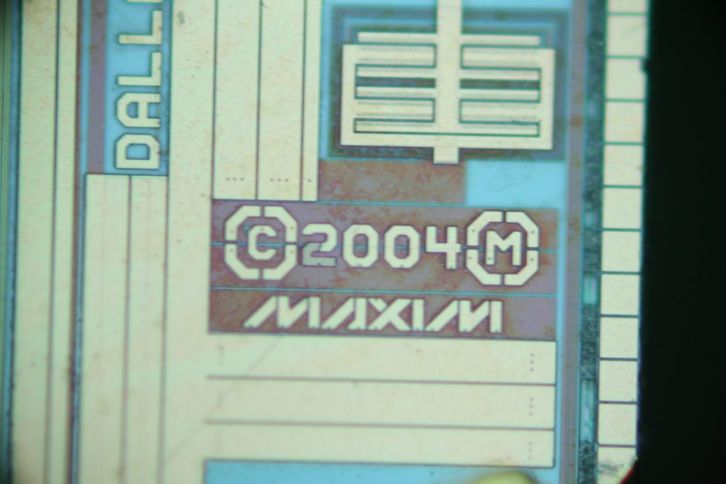 "A DIC image showing the ""Maxim"" brand markings."
